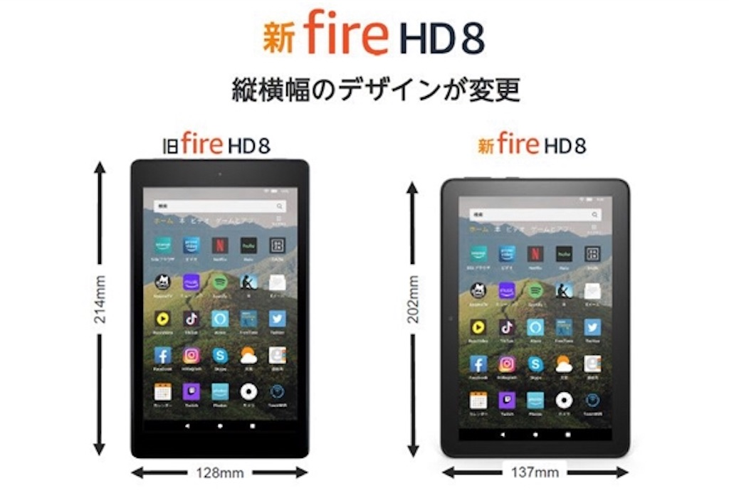 Fire HD 8新旧変更点を比較